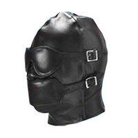 Halloween Sex Games  Wholesale - Fully enclosed bondage hood headgear mouth plug eyeshade adult game toys flirt Passion enjoy mask