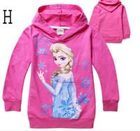 Wholesale Lowest Price Frozen Baby Girls Yrs Elsa Anna Princess Hoodie Long Sleeve Terry Hooded Jumper Cartoon Hoodies Outerwear Kids