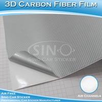 Wholesale SINO CAR STICKER M FTx98FT Stylish Silver D Carbon Fiber Vinyl Car Wrapping