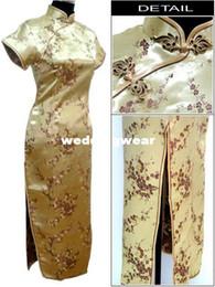 Wholesale Gold Traditional Chinese Dress Women s Satin Long Cheongsam Qipao Clothing Flower Plus Size S M L XL XXL XXXL XL XL XL J3081
