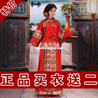 Wholesale Hot Sale Chinese Traditional Special sequined clothing Red Cheongsam Dress with Floral Print bridal gown wedding dress