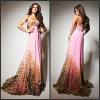 Wholesale Leopard Print Prom Dresses Charming Sweetheart Evening Dresses with Crystals Brush Train Cheap Graduation Dress Chiffon Long Prom Gowns