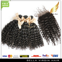 Brazilian Hair Curly Brazilian Hair Hair Closure With Bundle Hair Virgin Brazilian Hair (4x4)Top Closures Hair Wefts&Weaves 3pcs Kinky Curly Hair Natural Color DHL ON SALE