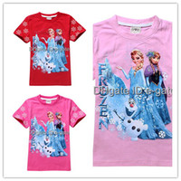 Girl plain clothing - New Frozen Girls Short Sleeve T Shirt Cotton for Y Y Kids Clothing Summer Clothes Plain Tee No