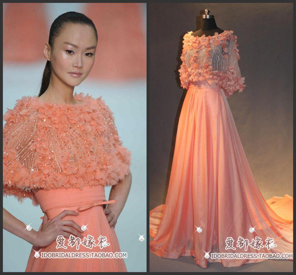 Stunning Chiffon Light Orange Celebrity Dresses Vestidos
