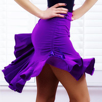 Wholesale New Latin Salsa Tango Rumba Cha Cha Ballroom Dance Dress Skirt Square Dance Purple Black Hip Hop Clothes Women Latin Dance Dresses