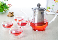 Glass and Metal ( Stainless Steel ) tea cups - 5in1 Kung fu Coffee Tea Set ml Heat Resisting Glass Flower Tea Pot with Stainless Steel Infuser Filter Lid Double Wall Layer Cup Mug