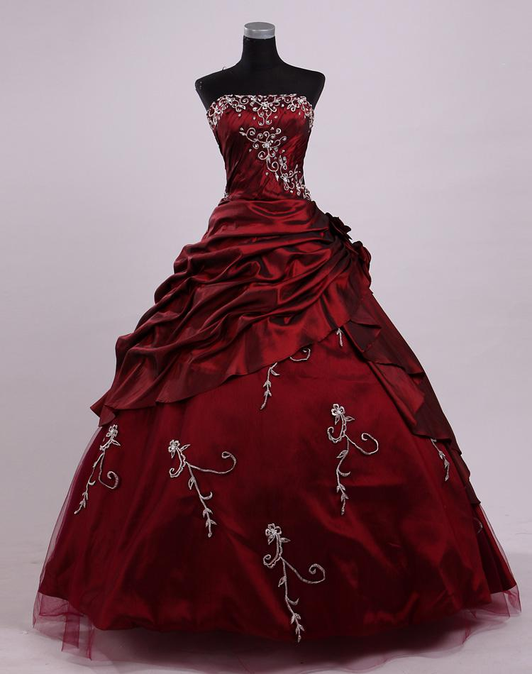 2017 Wine Red Dracula Mina Movie Ball Prom Gown Vintage ...