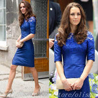 Reference Images High Neck Satin High Neck Lace Half Sleeve Sheath Tight Short Royal Blue Sexy Elegant Evening Gowns Cocktail Dresses 2014 Kate Middleton Dress