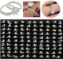 Wholesale 60Pcs silver Rose gold rings a set flower crystal diamond drill ring Rings ring Swarovski high quality JR02070