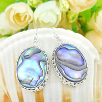 Dangle & Chandelier Mexican Women's Free shipping _ hot sell 925 sterling silver plated nature Abalone Shell Earring earring E0170