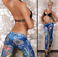Wholesale 2014 hot sale fashion girl leggings tattoo painting printing tights skinny denim ladies sexy leggings Pants Jeans