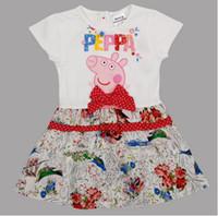 TuTu Summer A-Line In Stock Cute Bow Dot Peppa Pig Girls Dress Children Clothes Catton 100% Cotton Kids TuTu Tee Shirt Skirt Free Shipping Gift