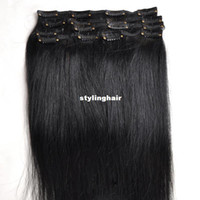 clip in hair extension sets - real Brazilian virgin Human Hair Clip in Extensions inch g Set Jet black