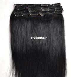 Promotion 18 black hair Gros-Livraison gratuite clip 100% cheveux humains real brésilien dans les extensions 18inch 70g 7pcs / Set # 1 Jet noir