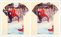 Boy Summer Standard 2014 new summer boy T-shirt spider-man children short sleeve T-shirt boy cartoon milk silk T-shirt C5151D-1
