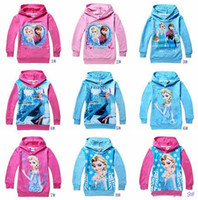 Wholesale 10 colors ice and snow Baby Girls Elsa Anna Princess Hoodie Long Sleeve Terry Hooded Jumper Cartoon Hoodies Outerwear Kids Clothing