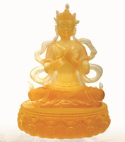 Wholesale liuli glass casting Buddha statue Sakyamuni BuddhaTantric Green Tara glass crafts Buddha statues of Buddha ornaments gift stationery home