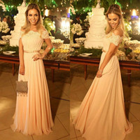 Jewel/Bateau best inexpensive - Best Selling Inexpensive Sexy Design Off Shoulder Summer Prom Dresses Long Chiffon Floor Length Ruffle Evening Formal Gown