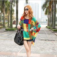 Women Chiffon  New New 2014 Fashion Bohemian Style Women Oversized Dolman Sleeve Colorful Chiffon Shirt Tops SV000784 A4