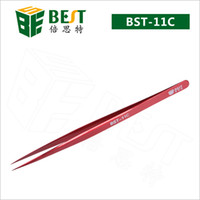 Wholesale BEST Stainless Steel anti magnetic straight tips color plating cheap tweezers for PCB mobile repairing BST C