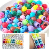 achat en gros de perles métiers-Livraison gratuite 200pcs perles colorées de poney pour les métiers de bracelet de métier à tisser de caoutchouc d'arc-en-ciel Vente chaude