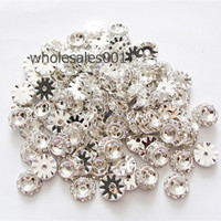 Wholesale 50PCS per mm Silver Flat Round Rondelle Spacer Rhinestone Large Hole Spacer Beads Jewelry Findings
