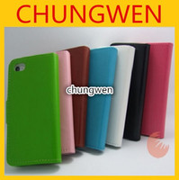 For Apple iPhone Leather  Wholesale - Fashion Plain Weave Wallet PU Flip Leather Case Cover with Credit Card Slot Holder For iphone 4 4S 4G 5 5G 1000pcs