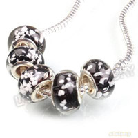Wholesale Black White Flower Lampwork Glass Charms Bead With Silver Clasp Fit European Bracelet