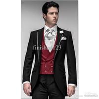 Pant Suit best sleeve designs - New Custom Design One Button Black Groom Tuxedos Groomsmen Best man Suits Men Wedding Suits Bridegroom Jacket Pants Vest Tie OK
