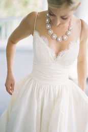 Wholesale 2014 Lace Embroidery Backless Sleeveless Sweetheart Wedding Dresses With Pockets A Great Way To Sneak Your Lipstic Or VowsSpaghetti New