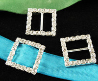 Wholesale Silver Plated Crystal Rhinestone Ribbon Square Shaped Buckle Chair Slider Wedding Supplies Buckles MM mm Bar