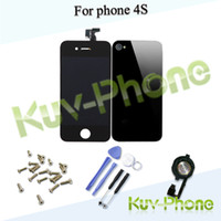 Wholesale Black Touch Screen Digitizer LCD Glass Back Housing Cover Home Button Replacement part For Phone s amp Screw Tools amp Freesh