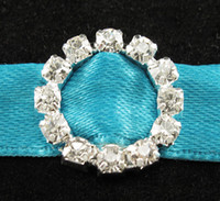 Wholesale 16mm Round Crystal Clear Silver Plated Rhinestone Ribbon Buckle Chair Slider Wedding Supplies