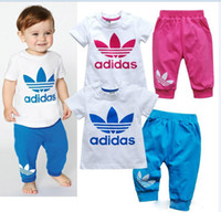 Wholesale 2014 New Spring and Autumn Cotton Short Sleeve Clothes Pants Suits Girls Clothing Sets Boy Suit Clothing Set Clothing Set
