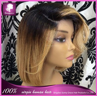Cheap Ombre Color Ombre lace wig Best Malaysian Hair Straight two tone