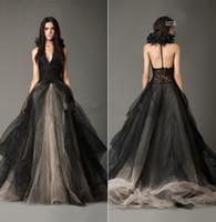 Wholesale New Vintage Black Wedding Dresses Princess Halter Lace Appliques Bridal Gown Tulle Bridal Gown Shabby Black Wedding Gowns Ruffle Tulle Long