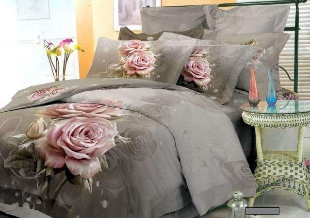 Grey Pink Floral Bedding Comforter Set King Queen Size