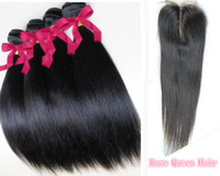Wholesale Queen hair Brazilian Virgin Hair A Straight quot quot Lace Closure With Bundles Unprocessed human Remy Hair Extension tangle