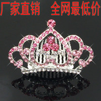 Wholesale Frozen Anna Shining Crown Popular Beautiful Crystal Tiara Crown Alloy Diamond Crown Comb Hair Accessories For Children