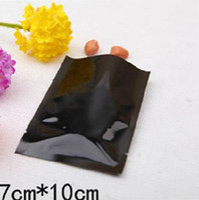 Aluminum Foil heat seal tea bags - 7 black aluminium foil bag heat seal package for coffee tea powder spices Plain pocket plastic gift Bag
