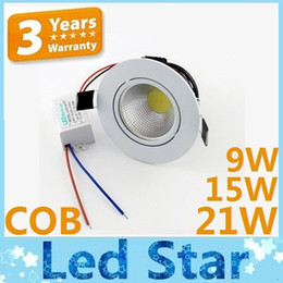 Wholesale White COB W W W Dimmable Led Downlights Recessed Lamp CRI gt Best Led Ceiling Lights Warm Natural Cool White V