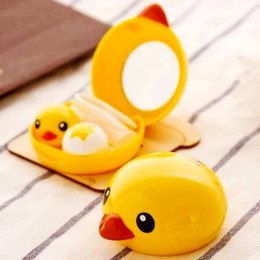 Wholesale Super cute yellow duck design CONTACT LENS BOX Storage box for contact lens Hot popular lovely fashion travelling contact lens box Nice