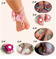 Wholesale Willmore Store Pure Handmade Knit Flowers Barefoot Sandals Infant Toddler Baby Feet Decoration