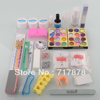 UV Gel Nail Art Set Yes Set & Kit NAIL KIT KIT UV GEL 24 Acrylic Powder Glue File Primer Tips Brush French Nail Free shipping