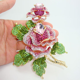 Wholesale-High-Quality Gold-Plated Luxury Double Rose Flowers Art Deco Brooch Beautiful Woman Pink Crystal Rhinestone Flower