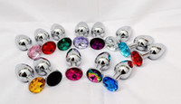 Wholesale Random Colors Metal Mini Anal Toys Butt Plug Booty Beads Stainless Steel Crystal Jewelry Sex Toys Size S M L