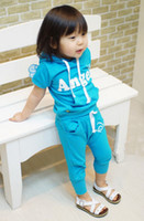 Spring / Autumn angels boy children - Hot sell Retail New style baby boys girls Angel wings sports clothe suits hoodies pants children clothing set set