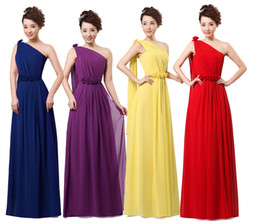 Wholesale 2015 new Wedding bridesmaid party formal long cocktail one shoulder chiffon dress red purple yellow plus size under