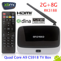 Wholesale Google Android TV BOX CS918 RK3188 G RAM G ROM Bluetooth Camera Microphone External Wifi Antenna Android smart mini pc